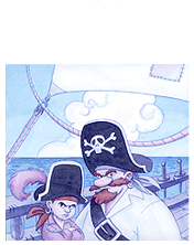 Pirate man and boy in a pirate ship