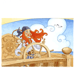 Red headed pirate woman manning a boat