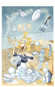 A witch in her kitchen, magically scrubbing the dishes